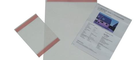 Selbstklebende Transparente Exposetaschen ab 2,40 € Stck. zzgl. MwSt.